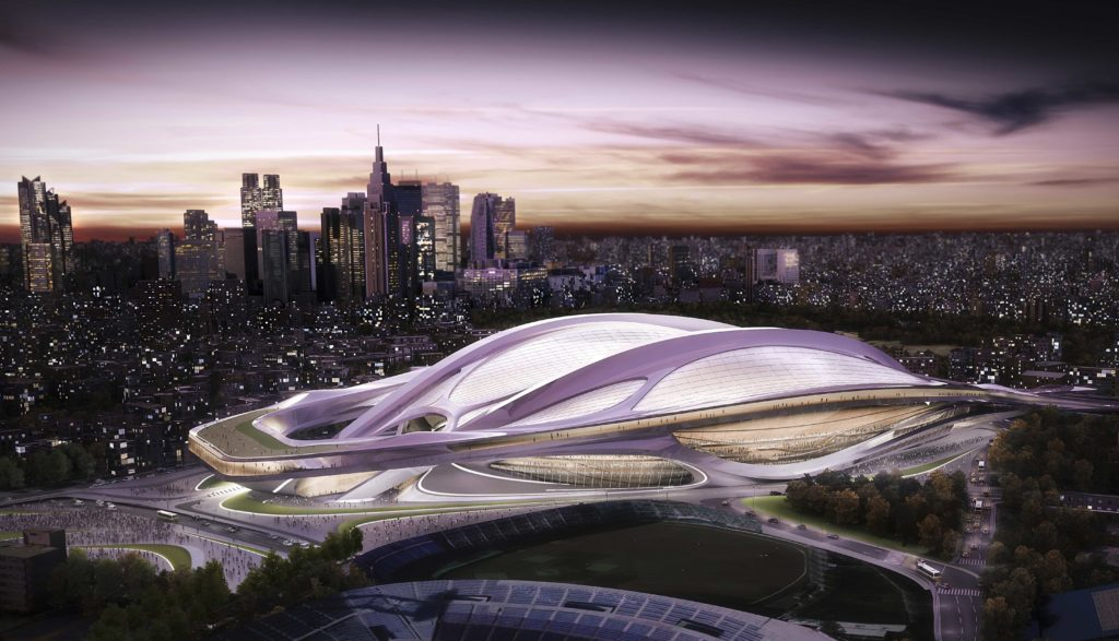 FILE - This file artist rendering released by Japan Sport Council shows a new stadium, designed by award-winning British-Iraqi architect Zaha Hadid, Tokyo plans to build for the 2020 Summer Olympic Games. Japanese Olympic officials say they will adhere to plans laid out in their successful bid to host the 2020 Games despite criticism that costs are too high. Speaking after a two-day orientation seminar with the International Olympic Committee in Tokyo Friday, Nov. 15, 2013, Japanese Olympic Committee president Tsunekazu Takeda said plans to build the 80,000-seat stadium are still in place. (AP Photo/Japan Sport Council, File)